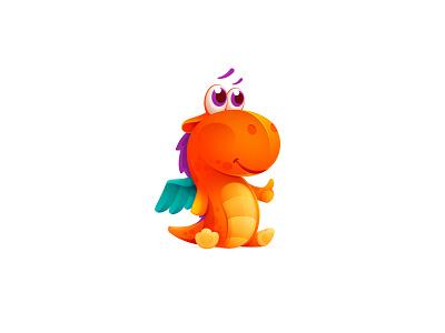 Children's toys store logo typogaphy icon dragon character logo children toy