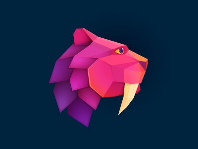 Beast icon logo mark identity beast lion tiger sabre-toothed icon logomark polygonal colors purple