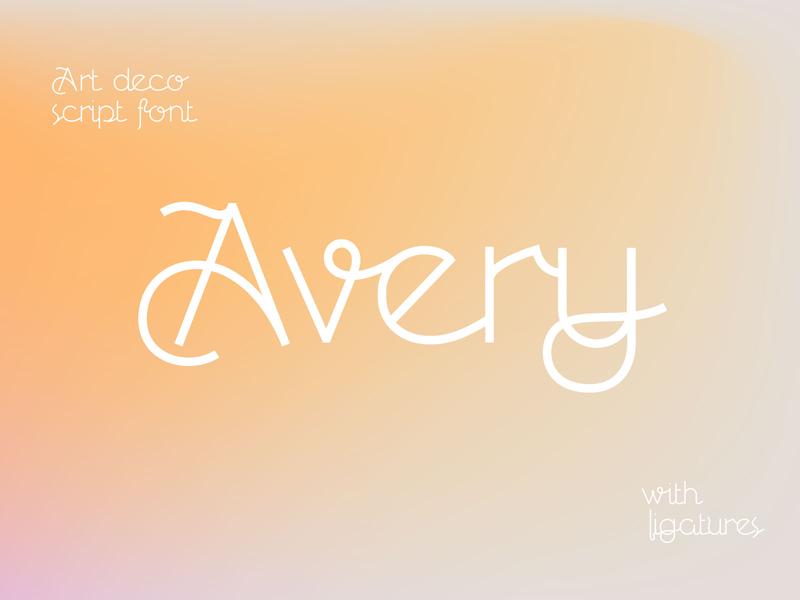 Avery Art Deco Script font type ligatures typogaphy lettering font script art deco