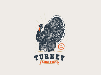 Turkey with big tail vintage silhouette emblem turkey thanksgiving emblem vector branding illustration logo mark