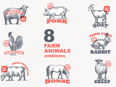 Set of 8 farm animals hatching emblems. food egg pork milk pig horse goat sheep rooster rabbit cow badge logo farm emblem animal engraving hatching