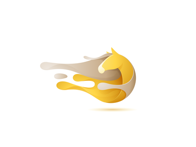 Gold horse concept with paint splashes gold splash painting horse circle head mark logo