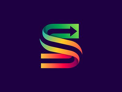S + arrow sign rainbow colorful multicolor arrow logo letter s