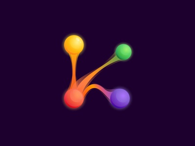 K letter logo with colorful spheres and connecting lines letter mark logo icon sciencefiction multimedia energy technology
