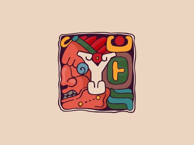 Letter Y from my Aztec Initials Colored font indigenous native aztecs ancient initial mark logo