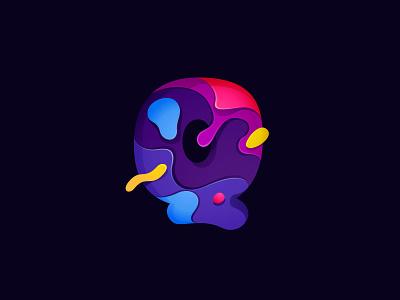 Paper cut letter Q multicolor logo multicolor carving origami colorful icon letter mark logo