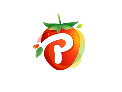 P in Strawberry negativespace juice red icon mark logo p strawberry p letter