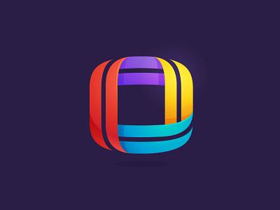 O letter icon multicolor colorful square line o letter
