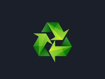 Recycling symbol eco friendly icon logo green eco arrow triangle facets lowpoly