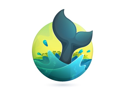 Palo Santo mark wip wip logo mark icon blue green ecuador travel water whale sea surge