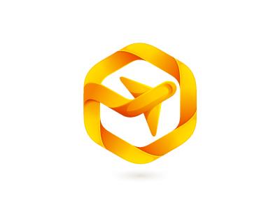 Visa Travel mark logo mark identity hexagon air plane travel yellow icon logomark kaer