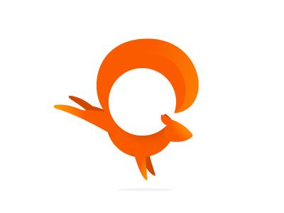 Squirrel mark squirrel orange round red jump