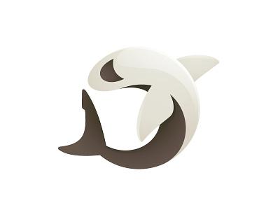 Shark circle brown shark pastel color logo mark animal fish