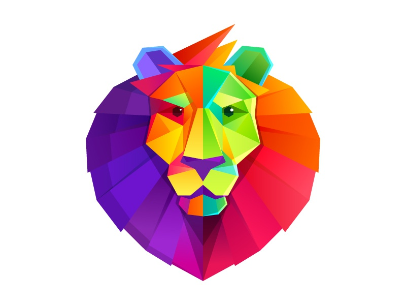 Rainbow lion head crystal low poly head mark logo color lion rainbow