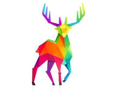 Rainbow christmas deer by Roma Korolev (kaer logo) - Dribbble