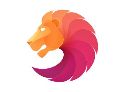 Lion head mane circle red lion logo mark head