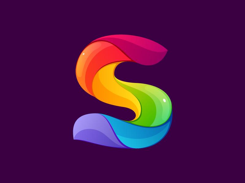 S letter colorful logo mark multicolor rainbow s letter