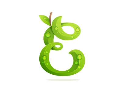 E letter letter e ecology eco leaf leaves drop dew