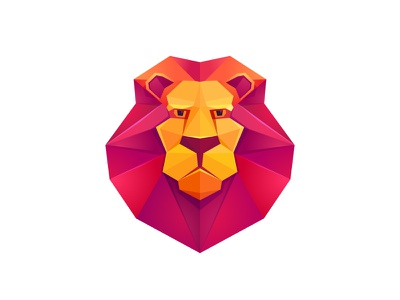 Lion head origami low poly face head mark logo lion red mane