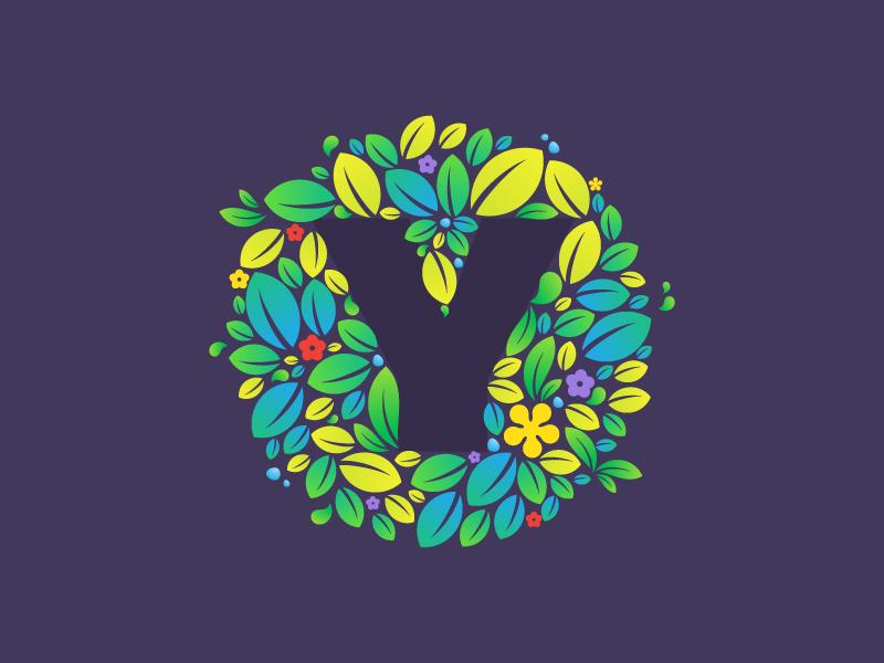 Y letter  leaf letter y leaves dew mark logo green blue eco ecology