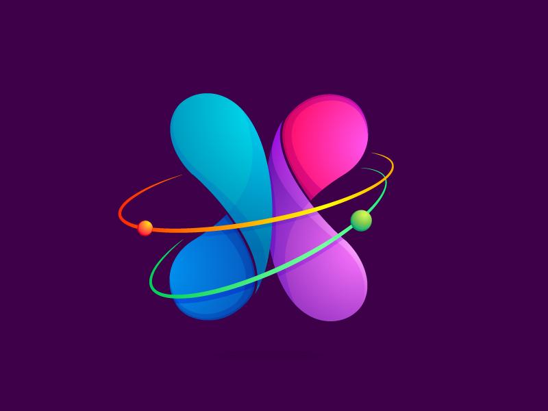 X letter rotate astronomy symbol neutron line power orbit atom letter x