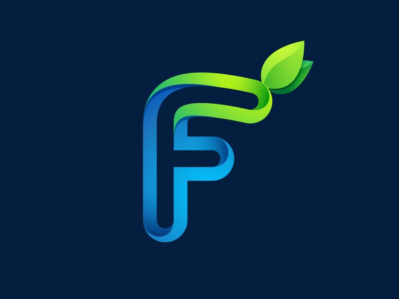 F letter ecology eco blue green logo mark dew leaves f letter leaf