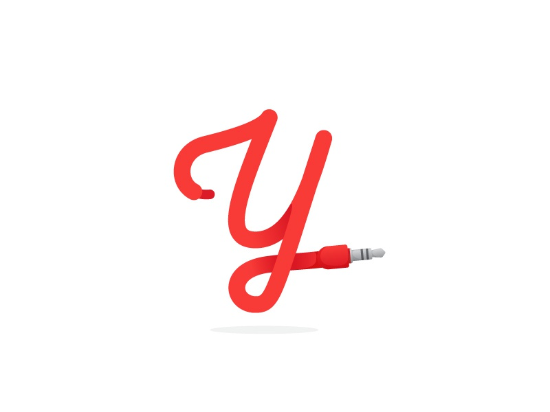 Y letter formed by jack cable red jack letter y cable