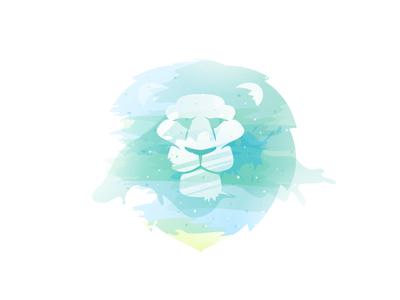 Lion head face head mark lion blue mane splash logo light ink clean watercolor