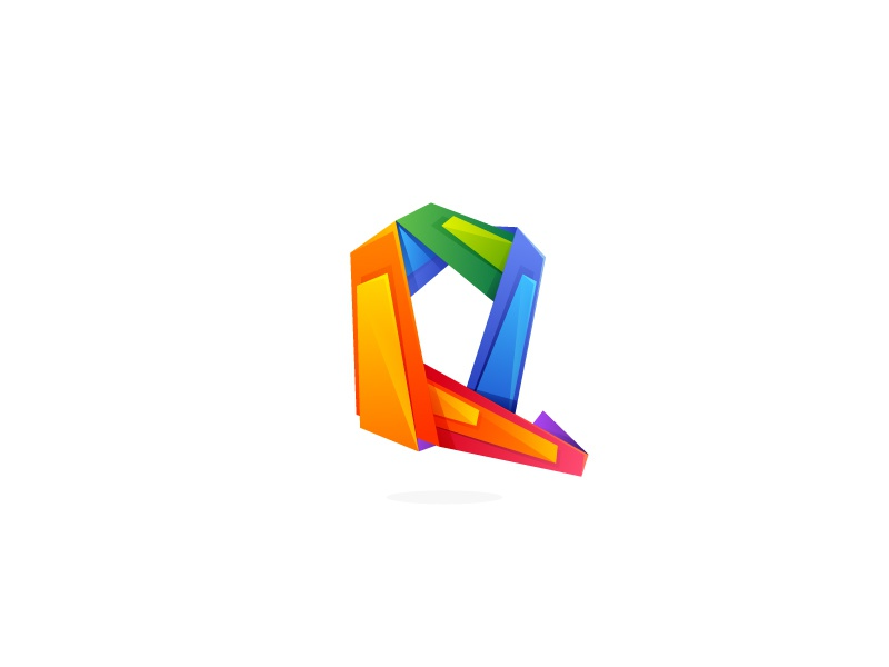 q letter in low poly design style