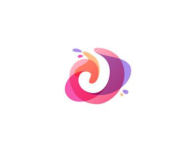 Watercolor J negative space letter j violet drop splash watercolor alphabet