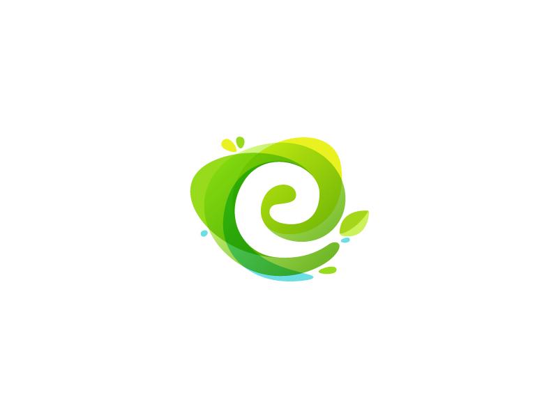 Watercolor E leaf eco watercolor splash drop violet letter e negative space