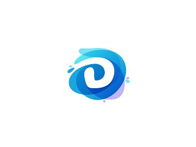 Water D negative space letter d violet drop splash watercolor eco water