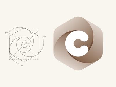 C letter hexagon letter c