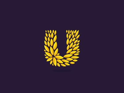 Gold U leaf u letter gold award laurel wreath logo icon star