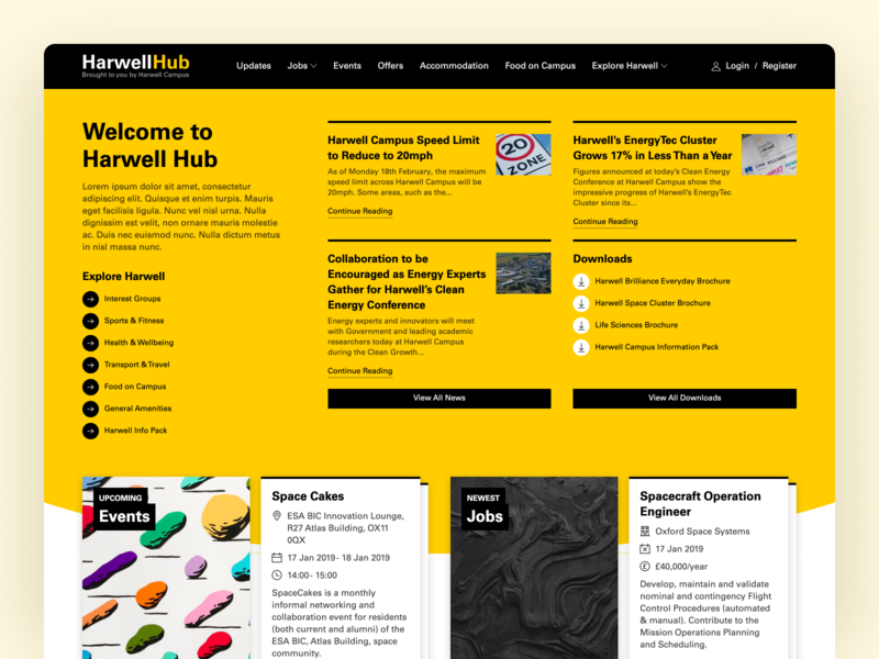 Harwell Hub Home webdesign product design product