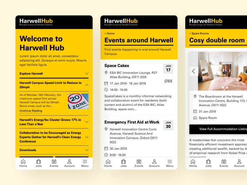 Harwell Hub Mobile accommodation events