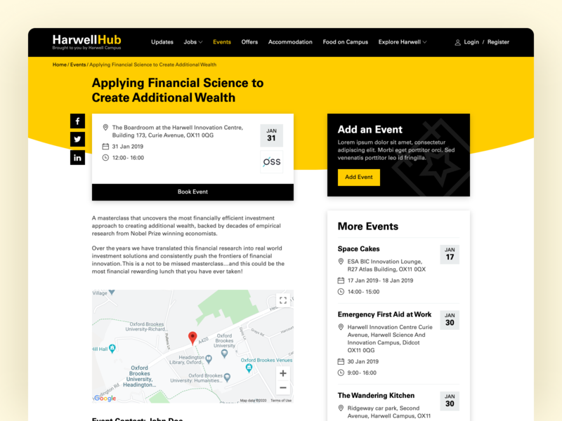 Harwell Hub Events cta google map event events