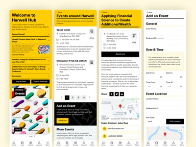 Harwell Mobile events app events form forms