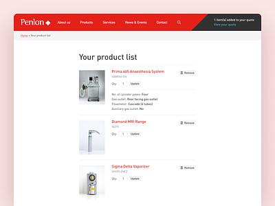 Penlon Basket Page ecommerce design basket ecommerce