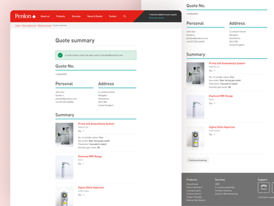 Penlon Quote Summary Page ecommerce design checkout quote ecommerce