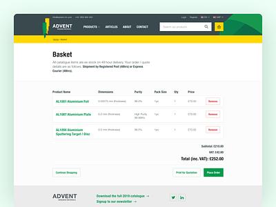 Advent Basket Page checkout basket ecommerce