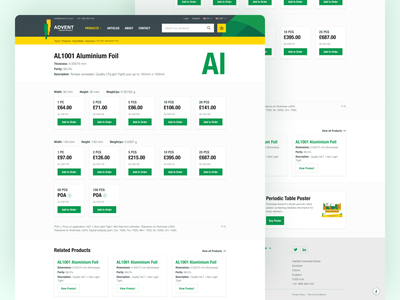 Advent Product Page ecommerce product listing