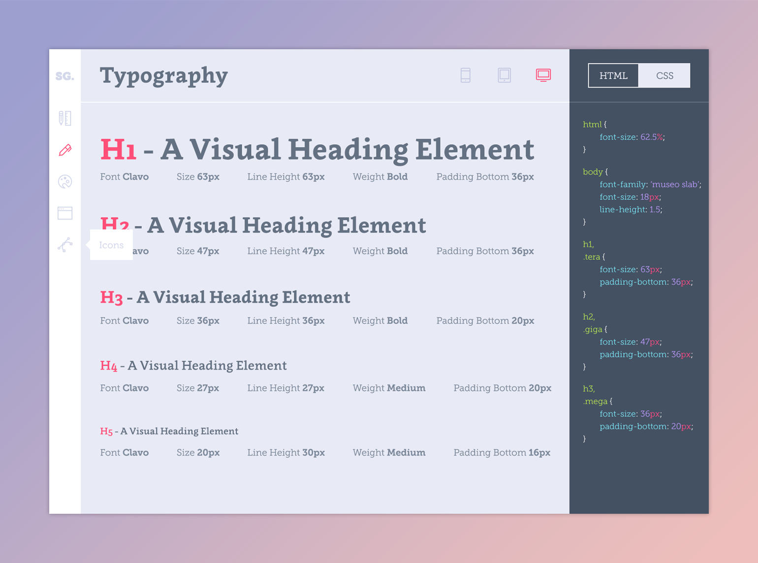 Style guide typography page