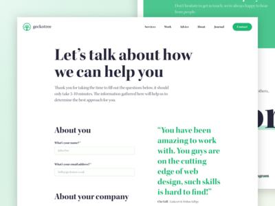 Geckotree contact page (desktop)