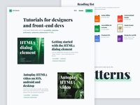 Personal website tutorial listing page (desktop)