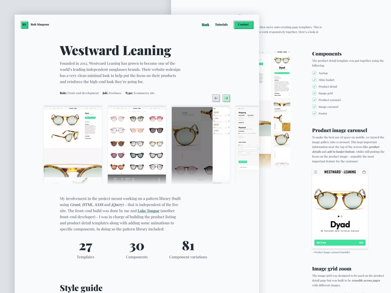 Rob Simpson Westward Leaning Case Study Page project work case studies case study portfolio sunglasses ecommerce clean minimal