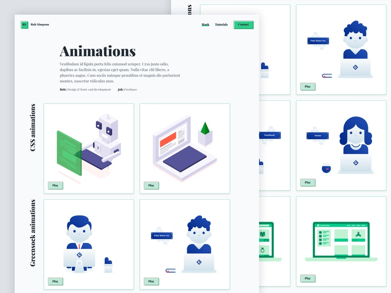 Rob Simpson Animation Work Page case studies portfolio animation illustration work project case study minimal clean