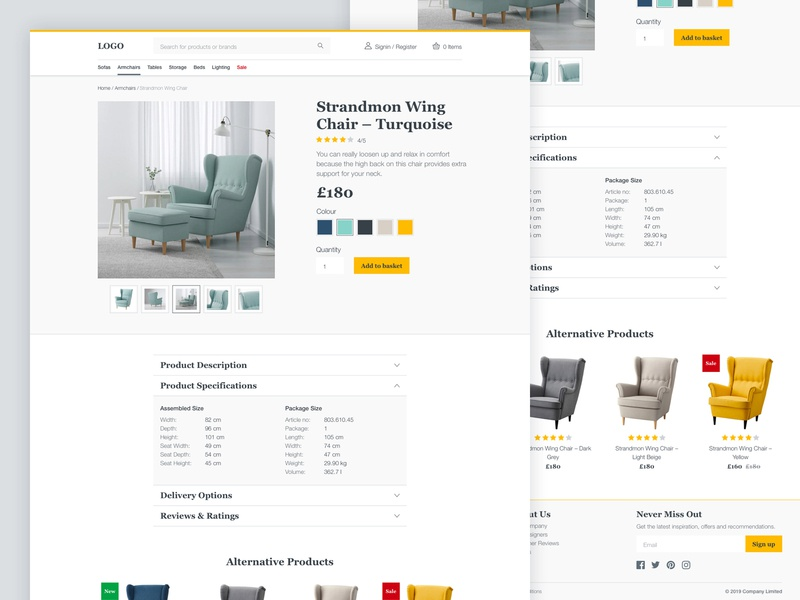 Ecommerce UI Kit Product Page clean ui minimal furniture shopping ecommerce