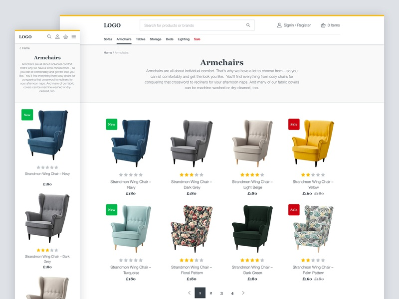 Ecommerce UI Kit Product Listing Page ui shopping furniture ecommerce minimal clean
