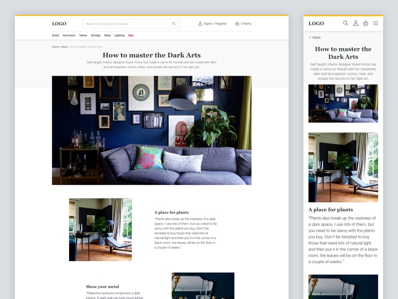 Ecommerce UI Kit Content Page furniture ui clean minimal article blog